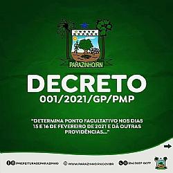 Prefeito Carlos Veriano, determina ponto facultativo nos dias 15 e 16 de fevereiro