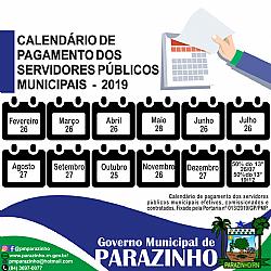 Prefeitura de Parazinho fixa calendário de pagamento dos servidores públicos municipais