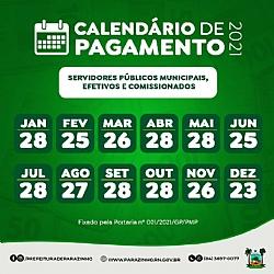 CALENDÁRIO DE PAGAMENTO 2021