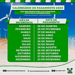 CALENDÁRIO DE PAGAMENTO 2020